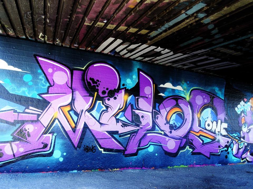 Graffiti, Lila, Blau, Kreativität, Wand, Mauer, Kunst