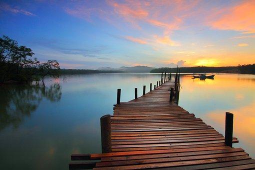 日の出, 桟橋, 湖, ロマンチック
