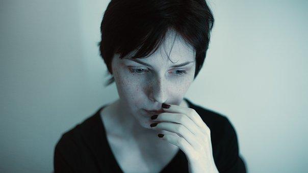肖像画, 厳しい, 女の子, ブルー, 暗い, アルバム, 憂鬱, 視線