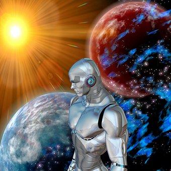 Roboter, Sonne, Weltall, Ferne
