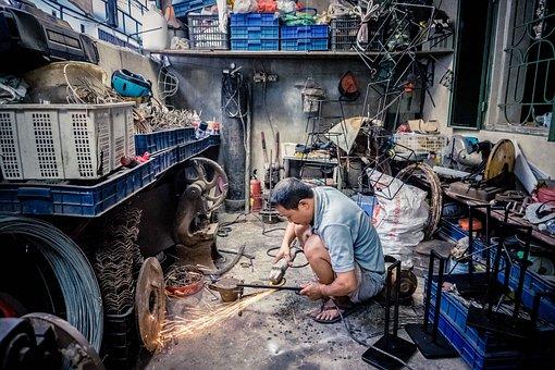 ワーカー, 鋼, 業界, 金属, 建設, 産業, 男, 仕事