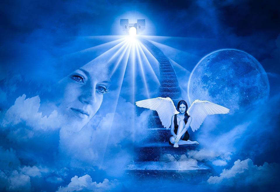 Anděl Strážný, Angel, Křídlo, Nebe, Schody, Tvář, Víra
