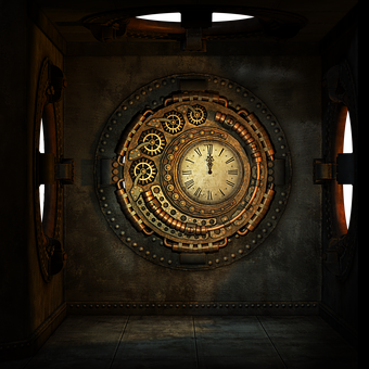 Steampunk, Clock, Clockwork, Time