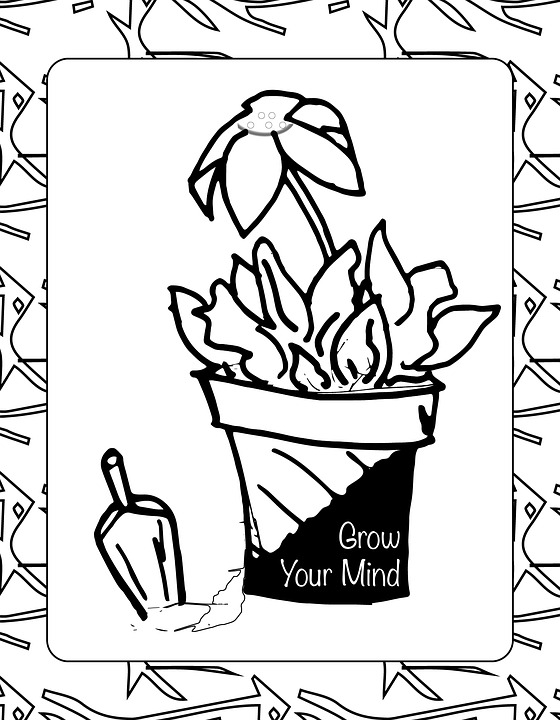 Flower Shovel Coloring Page Garden Growth