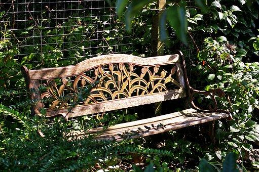 garden bench bank rest seat wood