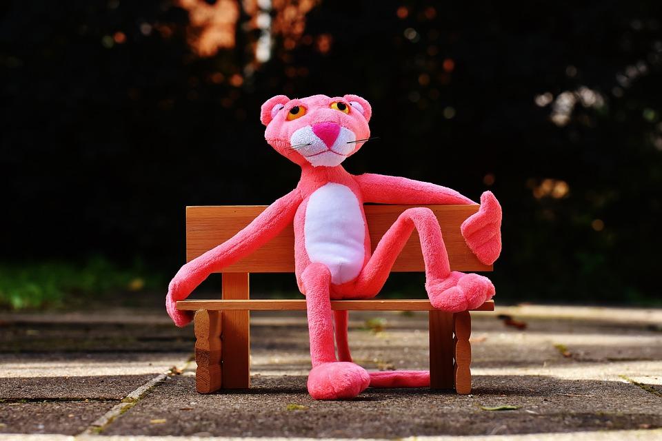 ピンクパンサー, 銀行, リラックス, 座る, フィギュア, 楽しい, 動物, ぬいぐるみ, 動物のぬいぐるみ