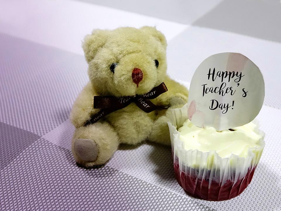Teacher'S Day, Cupcake, Bear, Toy