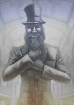 Top Hat, Man, Beard, Old, Character