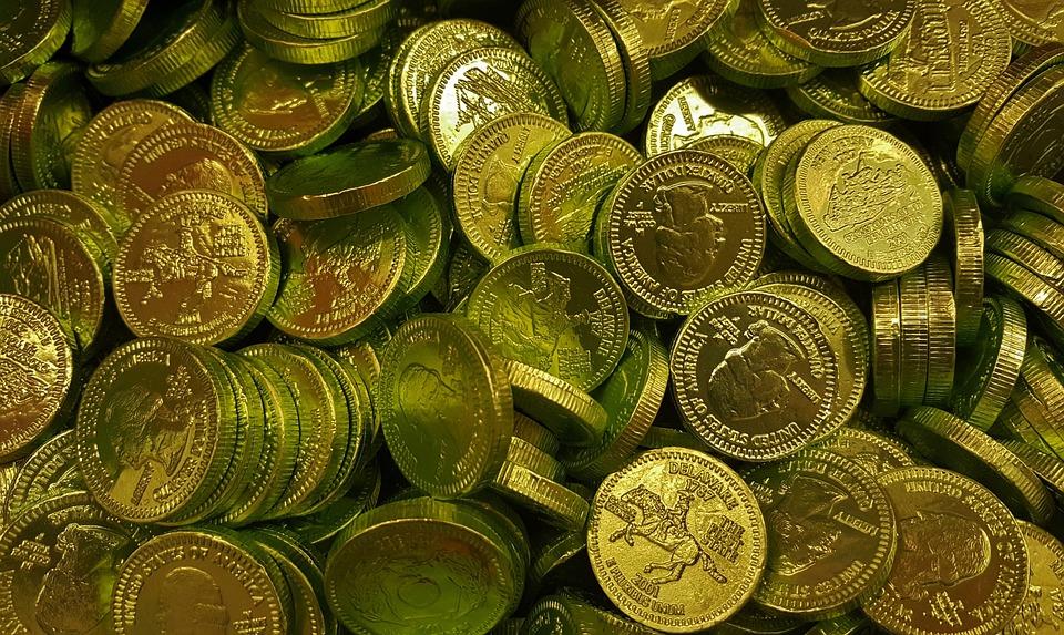 コイン, ゴールド, ゴールデン, バウンティ, 富, リッチ, 宝物, キャンディー, チョコレート