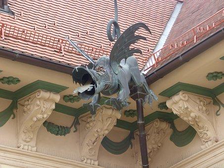 Dragon, Gutter, Sculpture, Decorating