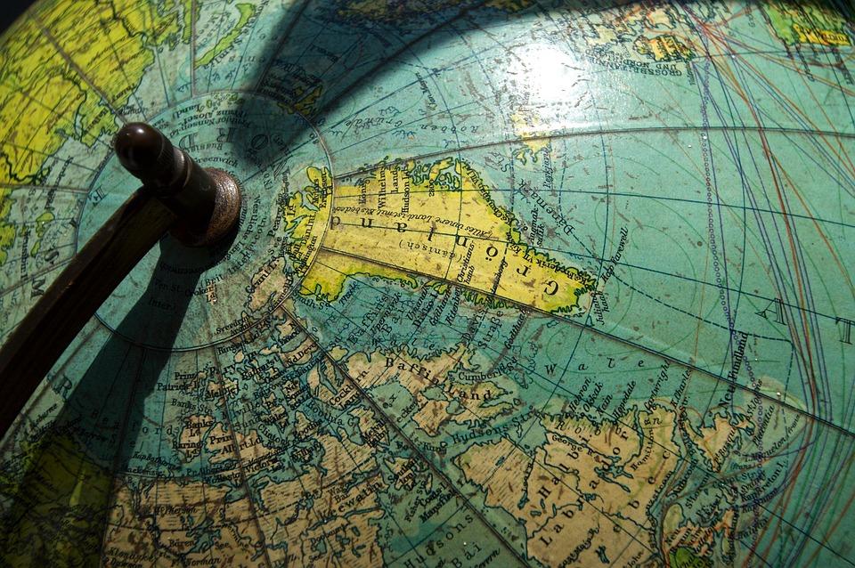 Groenland, Terre, Globe, Antique, Amérique Du Nord