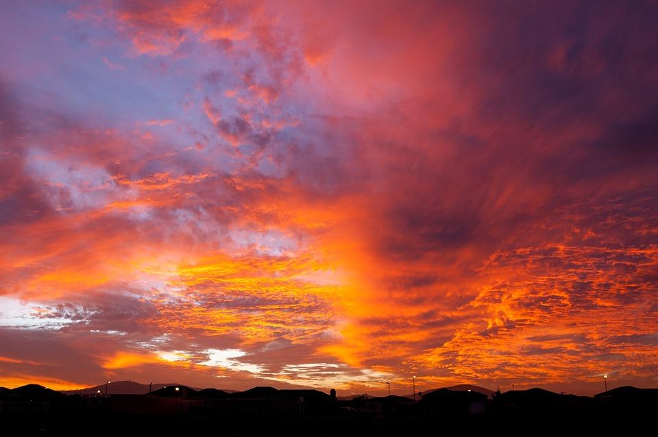 日没, 夕焼け空, 雲, スカイライン, オレンジ, 紫, ブルース, 暖かい, 燃える空, ケープタウン