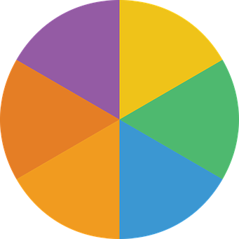 A circular divided into 6 parts, each bearing a different color.