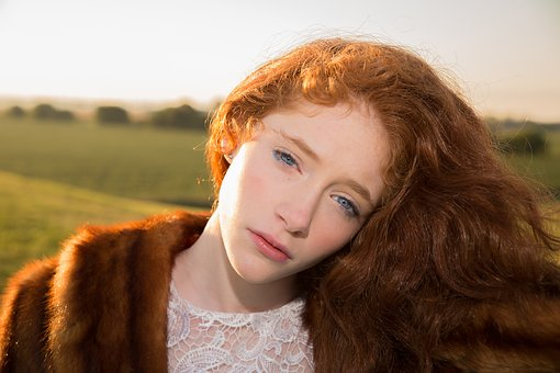 Girl Red Hair Blue Eyes Sunrise Beauty Fem