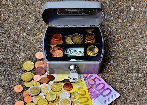 金庫, お金, 通貨, キャッシュボックス, 金融, 貯金箱, ユーロ