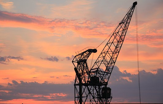 Harbour Crane, Sunset, Sky, Clouds