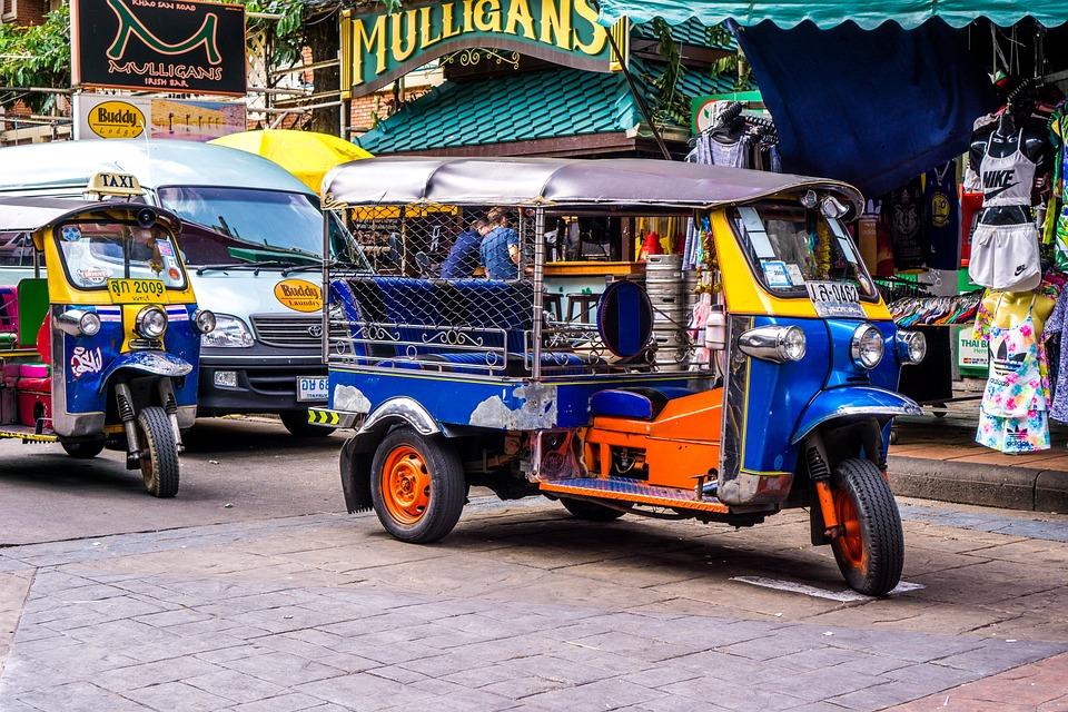 トゥクトゥク、タイ、オートバイ、タクシー、行く、観光