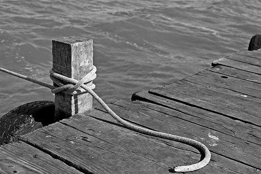 Boat Mooring, Pier, Web, Rope, Water