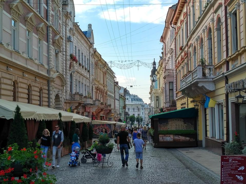 城市, 街, 体系结构, 城市中心, 建筑, 切尔诺夫策