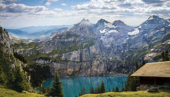 Berge, Bergsee, See, Oeschinensee, Alm