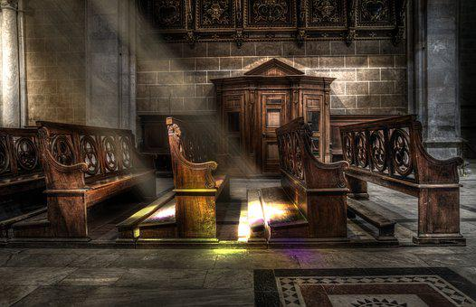 Church, Bench, Wood, Sunbeams, Religion
