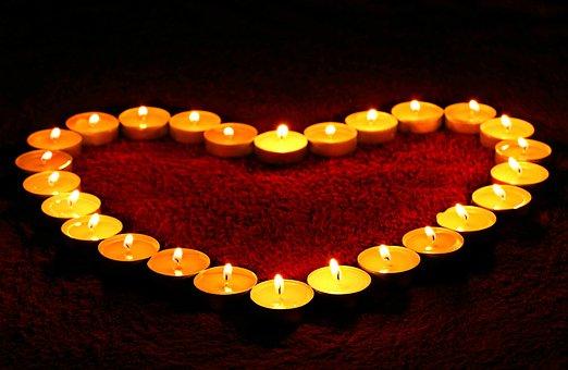 Kaarsen, Hart, Vlam, Liefde, Valentijn