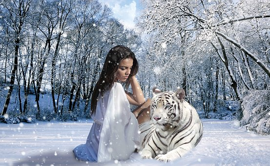 Woman, Tiger, Snow, Winter, Feelings