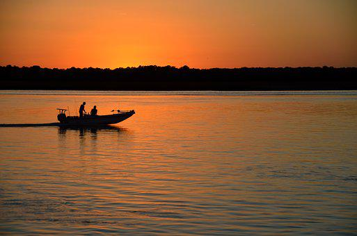 Sunset, Silhouette, Boat, People