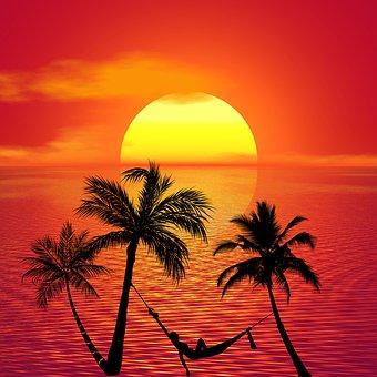 Hammock Sunbathing Relax Beach Summer Trop