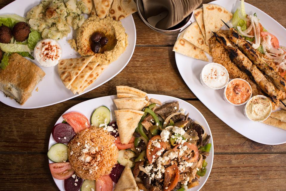 A typical Greek food platter