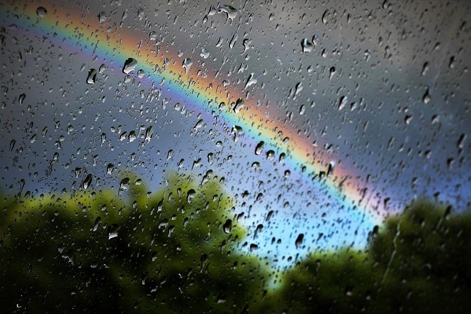 虹, 雨, 自然, 天気予報, 傘, カラフルです, ウェット, 屋外, シーズン, 防水, 水