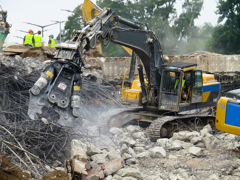 クラッシュ, 解体, 破壊, 破滅, 崩壊, ショベル, ティアオフ, 逆アセンブル, サイト, 建物の瓦礫