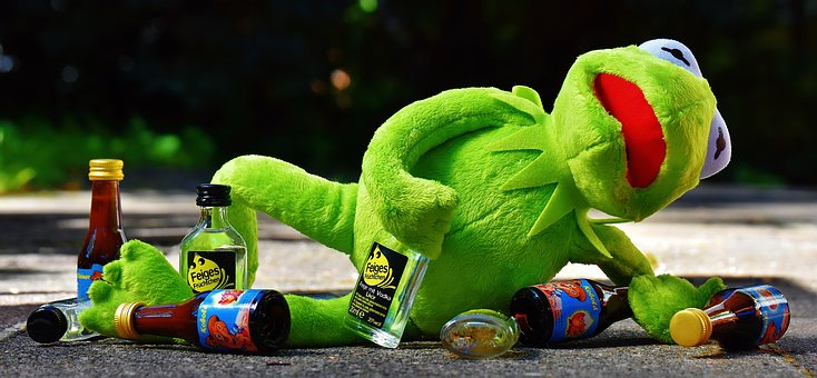 Kermit, Frog, Drink, Alcohol, Drunk