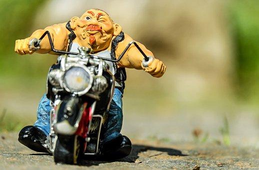 バイクに乗る人, フィギュア, オートバイ, 出口, 道路, 旅行
