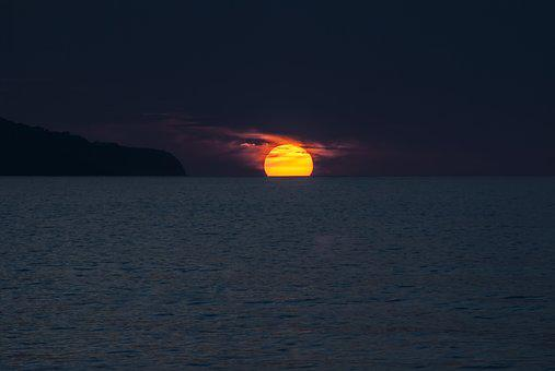 Sunset, Sun, Ocean, Island, Horizon, Sea