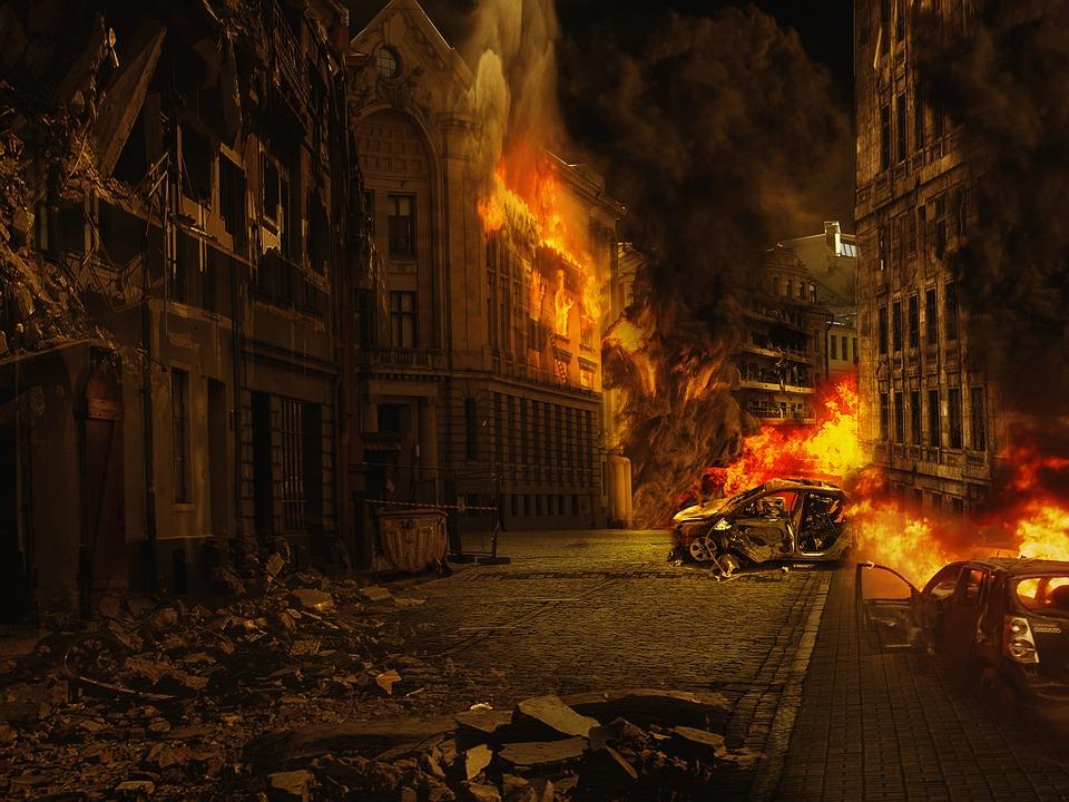 Flames of a forest fire. Destruction, hell.