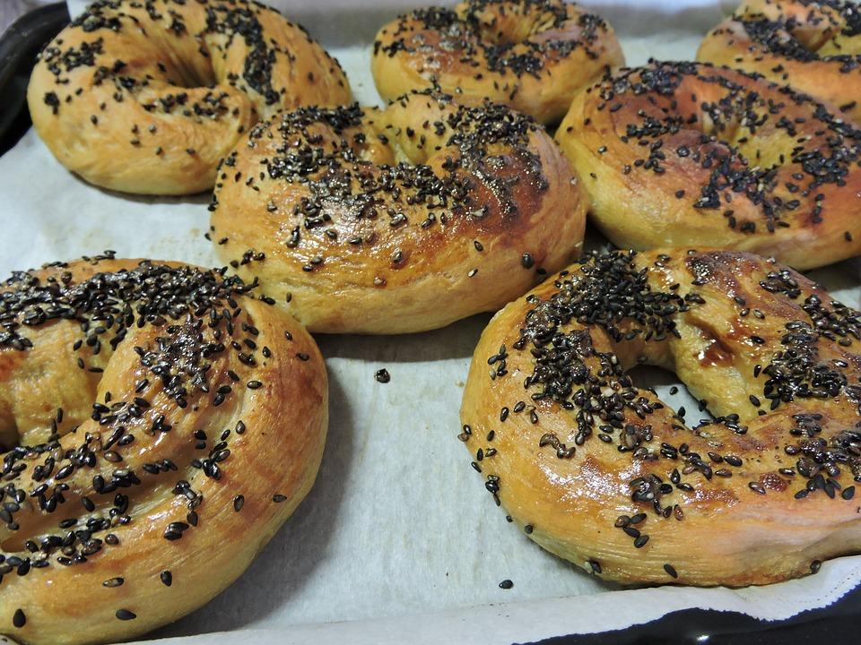 Bagels, Baking, Bread, Black Sesame Seeds, Food, Baked