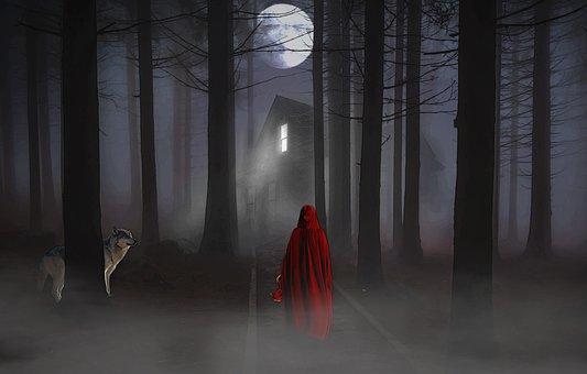 満月, フォレスト, 女性, オオカミ, ファンタジー, おとぎ話, ホーム