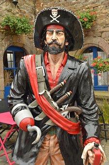 Pirate, Captain, Hook, Sword, Knife, Hat