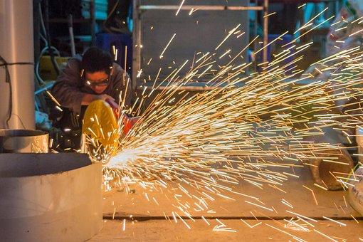 Workshop, Man, Sparks, Cutting, Work