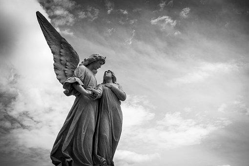 天使, 彫刻, 墓地, 図, 像, 天使のような, 平和, 穏やかな