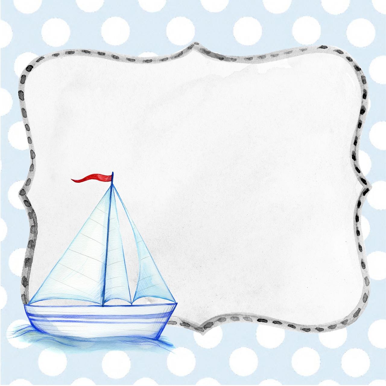 открытка с изображением кораблика листы