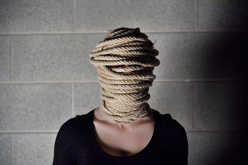 Cuerda, Pared, Mujer, Ansiedad, Chica