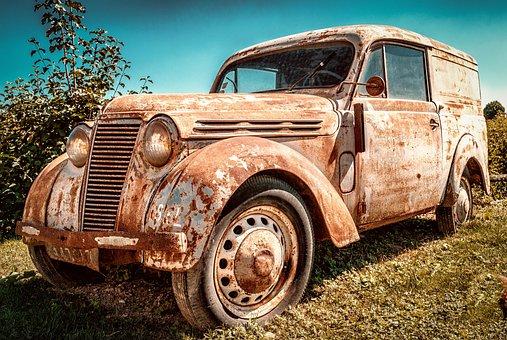 ルノー Juvaquatre, 車, さびた, 放棄された, 錆びた, 壊れた