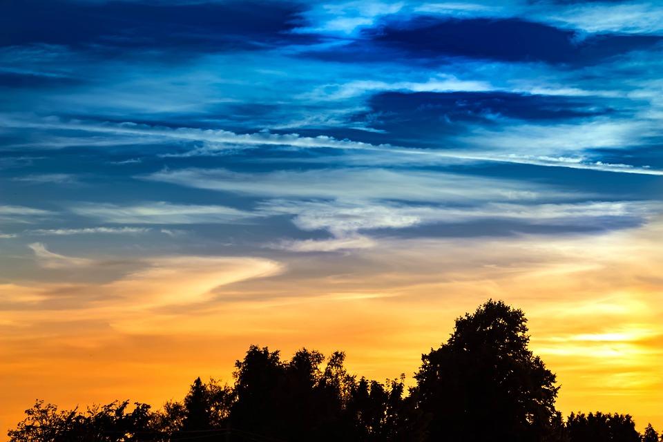 サンセット, 空, 雲, Abendstimmung, 飛行機雲, カラフル, 色の変更, 夜, 自然の空