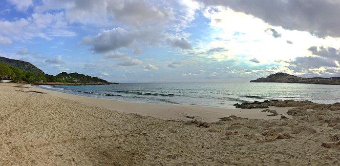 Mallorca, Havet, Solnedgång, Strand