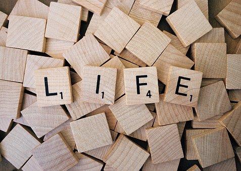 生活, スクラブル, ワード, テキスト