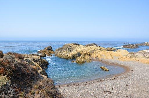 アメリカ, 海岸, 西海岸, ポイントロボス, 風景, 太平洋, 太平洋沿岸
