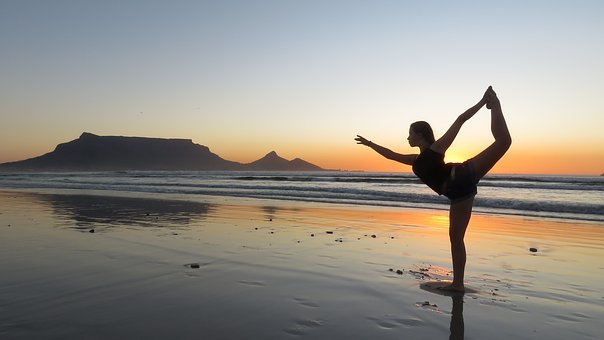 Yoga, Girl, Beach, Sunset, Summer