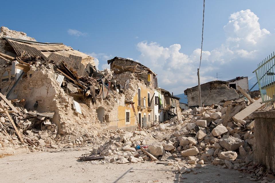แผ่นดินไหว, ซากปรักหักพัง, ยุบ, ภัยพิบัติ, บ้าน, ถนน